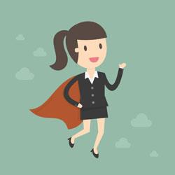 A woman becomes a leadership superhero.