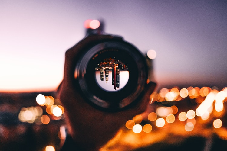 City through a camera lens