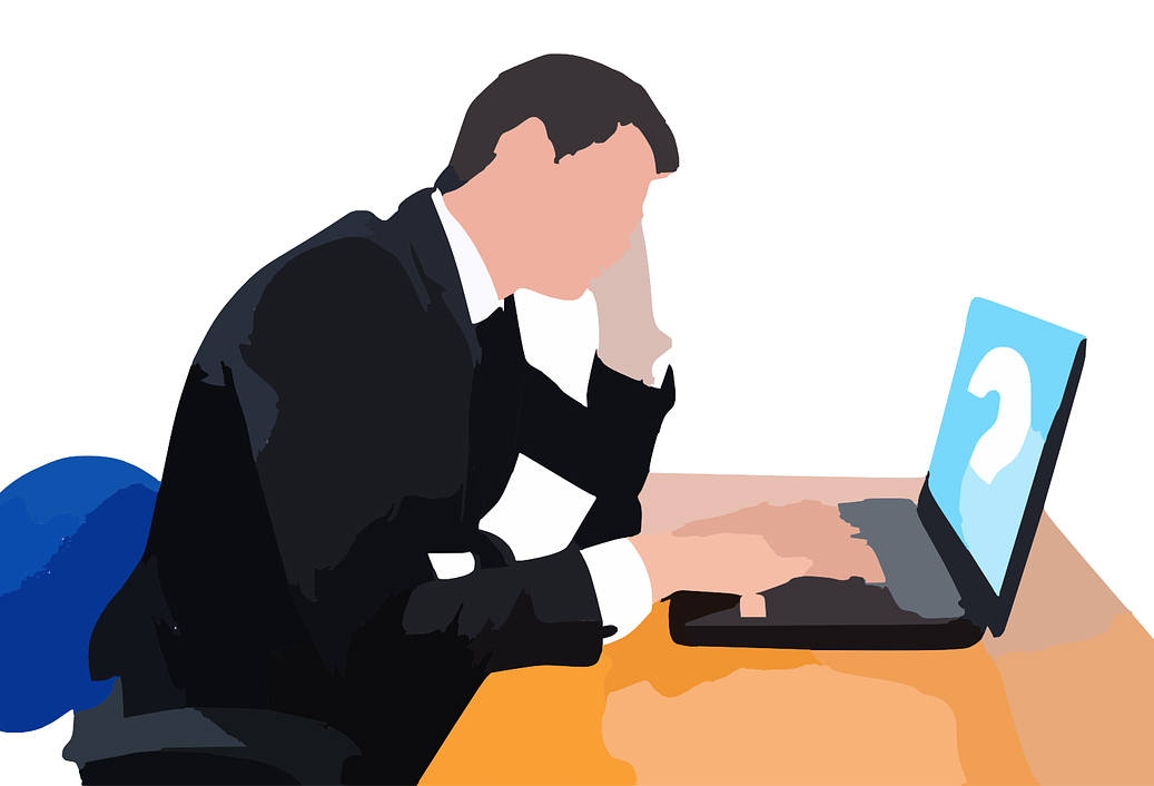 Rejected Man at Computer