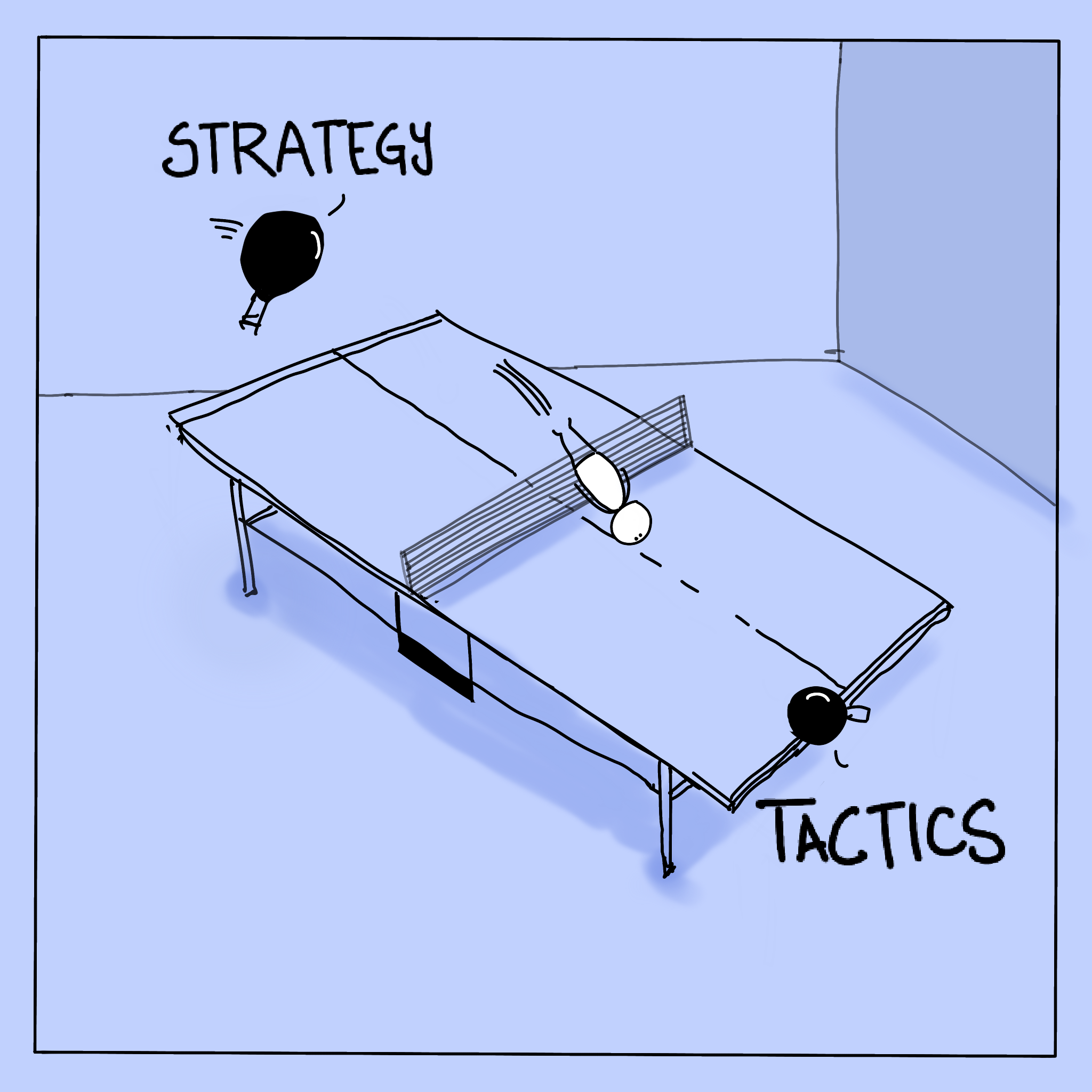Cartoon of pingpong table with a person being batted around.